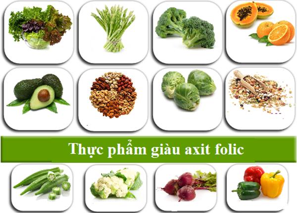 Bổ sung acid folic bằng việc ăn nhiều rau xanh và trái cây